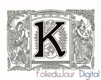 "Digital vintage monogram Letter - Digital file French antique dictionary page - 8.5 x 11"" - Instant Download"