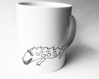 Alligator, cute hand painted white porcelain mug - baby shower gift - custom personalized gift with name date initials
