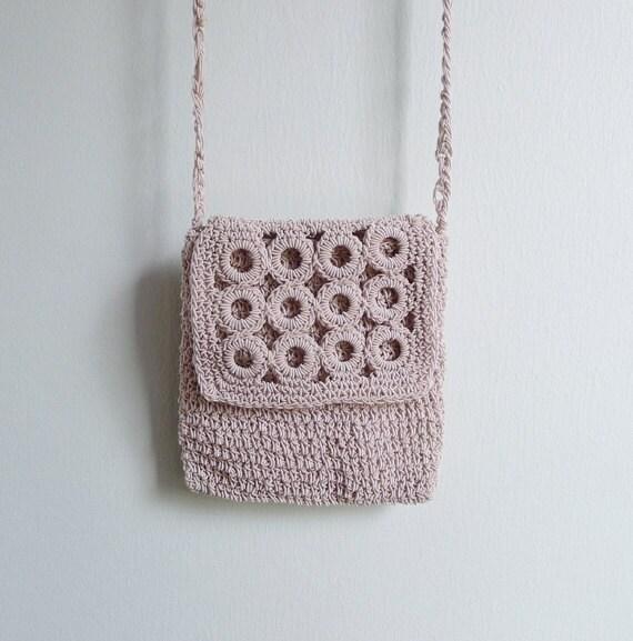 Vintage 90's Crochet Silk Corded Circle Woven Sling Bag