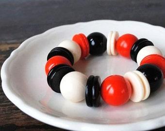 Mod Chunky Bead Bracelet, Acrylic West German Red Black Cream Round Beaded Beads & Discs