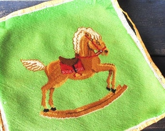Vintage Christmas Needlepoint, Pillow Sham Wall Art to Frame, Rocking Horse Colorful Cross Stitch Sewing Supply