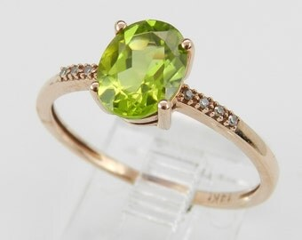 Diamond and Oval Peridot Engagement Promise Ring Green 14K Rose Pink Gold Size 7.25