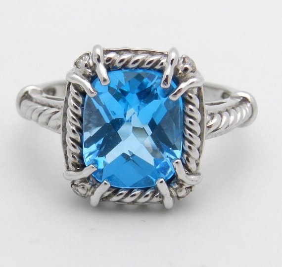 SALE Diamond and Cushion Cut Blue Topaz Engagement Cocktail Ring White Gold Size 6.75