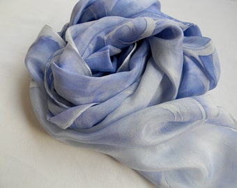 blue silk scarf.cobalt blue silk scarf.hand painted blue scarf.blue silk shawl.Silk by Hana Kratochvil.long blue silk scarf.blue and white