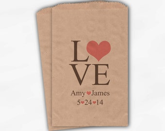Personalized Candy Buffet Bags - Love and Hearts Custom Kraft Paper Favor Bags for Wedding in Mauve and Brown - Paper Treat Bags (0015)