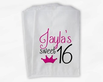 Sweet 16 Birthday Personalized Candy Buffet Bags - Hot Pink and Black Princess Crown Custom Favor Bags - 25 Paper Treat Bags (0081)