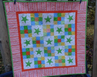 Stars Baby Quilt, Nine patch quilt, applique baby quilt, 1029-01