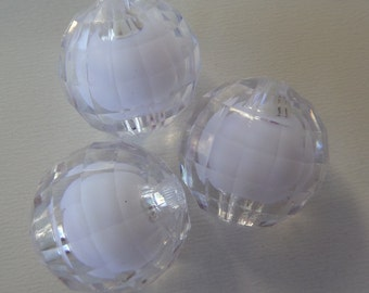 20mm, 10CT, Clear Bead in Bead faceted Gumball Beads, Gumball, E19