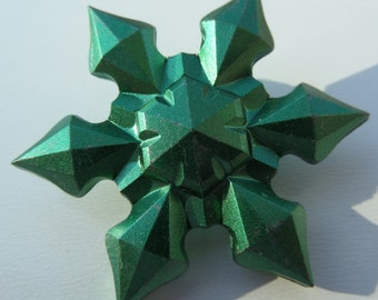 45mm, 2 Count, Green Metallic Plated Snowflake Beads. E38