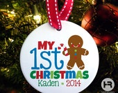 baby's first christmas ornament - Personalized Gingerbread Boy My 1st Christmas Ornament - Porcelain Personalized Christmas Ornament