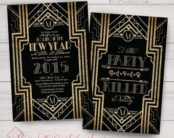 New Years, Charity, Corporate Party Invitations: Great Gatsby, Roaring 20's, Gold and Black. Samples/Printing/Digital Files Available