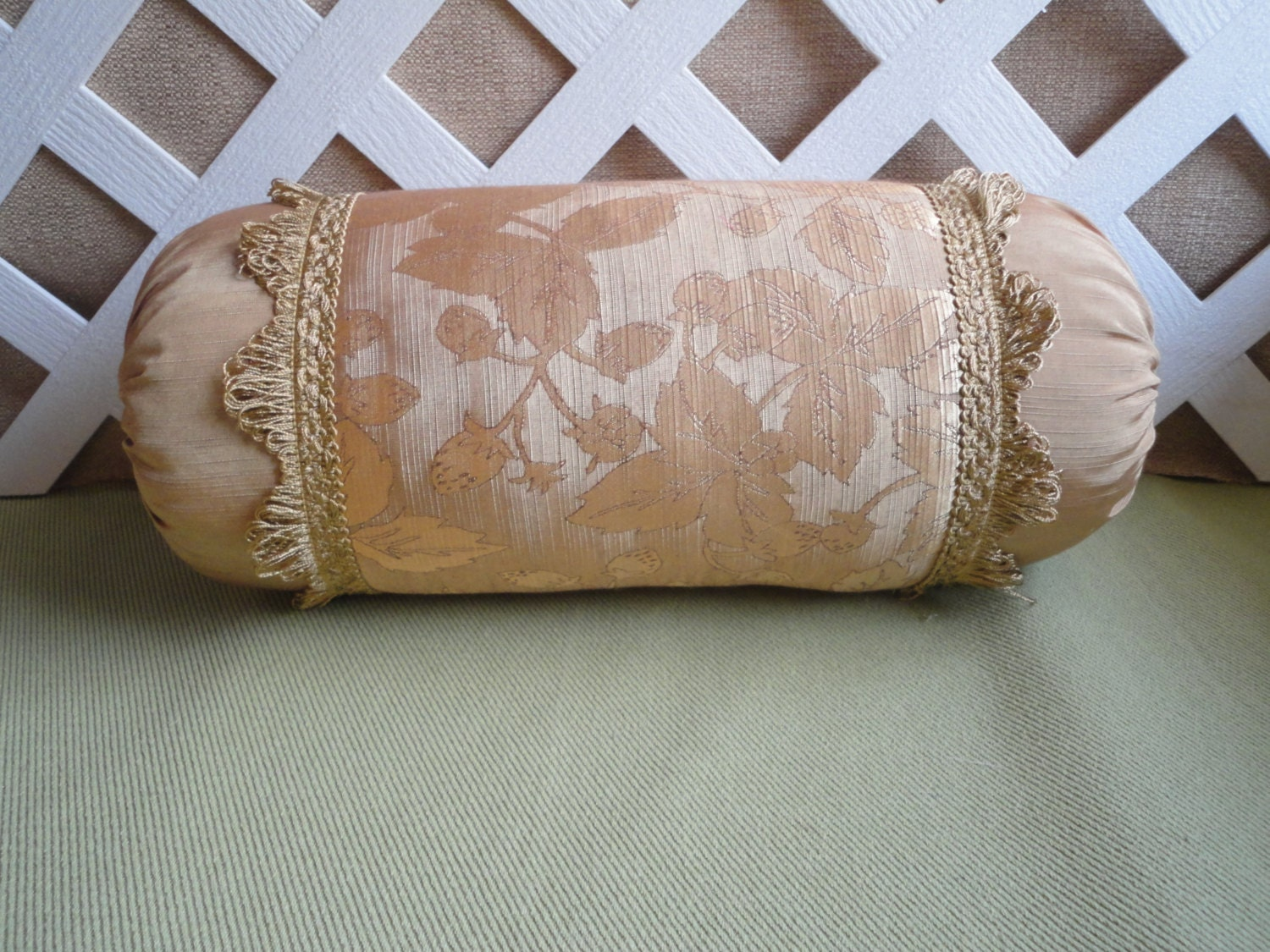 Decorative Bed Roll Pillows : Antique Gold Bolster Pillow / Neck Roll Pillow / Gold Pillow