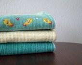 Neutral Burp Cloths - Handmade Burp Cloths - Yellow & Teal - Birdies - Set of 3 - Gender Neutral Baby Gift - Cotton Burp Cloth Set