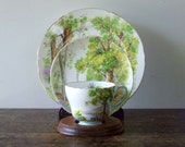 "SALE Vintage Shelley China ""Woodland"" Scene 3 Piece Teacup Saucer and Bread Plate"