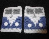 VW camper van  crochet fingerless mittens