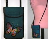 New! Mini Cross Body Purse fits iPhone 6 plus Smartphone Case, Cute Cellphone Cover  Blue-Green with 3D butterfly
