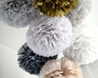 1 pom in 21 mixed size set of SPARKLING / METALLIC  tissue paper pompoms  - luxorious party decorations