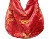 Vintage Mauve Rose Cut Velvet Bag Purse Messenger Bag