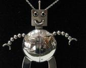 Happy Robot Pendant In Sterling Silver & 14 Karat Gold OOAK