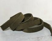 10mm Army Green Suede Leather Strap, Soft Cowskin 1 Yard