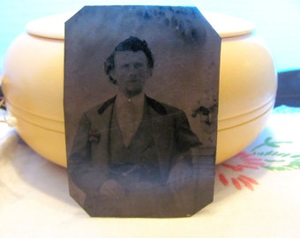 Vintage Tintype Photo -Handsome Young Man