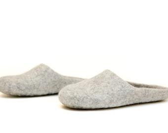 Wool felt slippers  - grey felted slipper - wool slippers - natural slippers - felted wool - Christmas gift idea (Handmade for order)