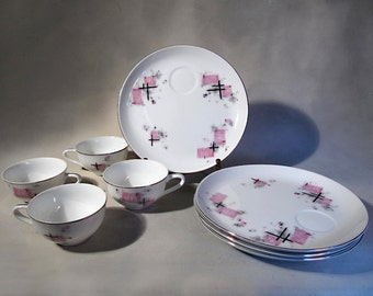 Space Age Tea set, Laurel of Japan, Party pattern, porcelain, china, star burst, google