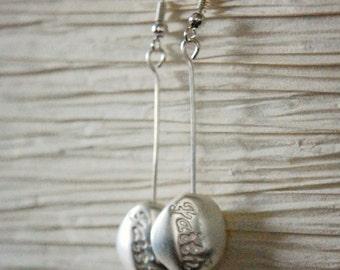 Handmade Silver Faith Metal Drop Earring