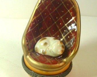 Miniature Ceramic Hinged Box of Cat Sleeping in a Chair - Faux Limoges - No. 1361