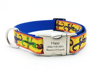 Gecko Dog Collar with Laser Engraved Personalized Buckle