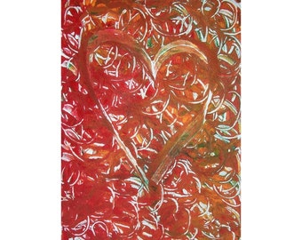 In Love 2 Original Monoprint Abstract Acrylic Painting 5x7 Red White Orange Valentine Heart