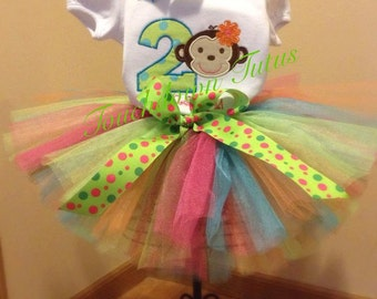 Girls monkey birthday outfit - pick your number