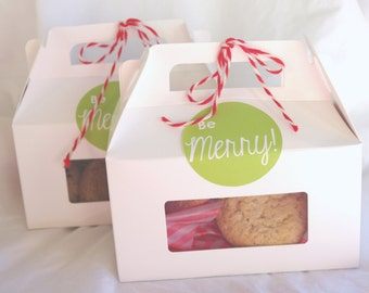 6 White Gable boxes  WiNDOW- -for Favors or Cupcakes-6
