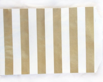 MeDiUM SiZe Metallic Gold stripe PaPER BAGs----party favors--gifts-20ct