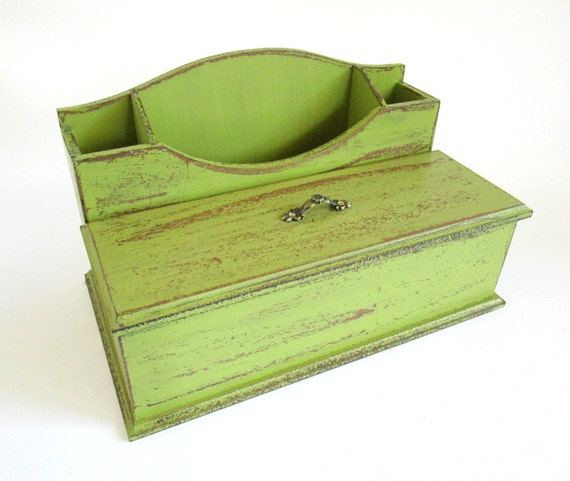 Lime Green Wooden Desk Organizer Rustic Office Decor