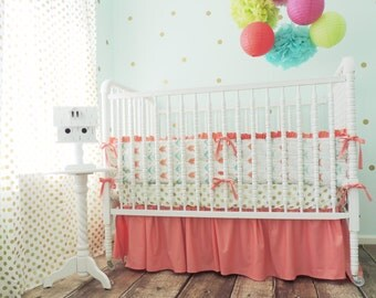 Aqua and Coral Arrow Themed Bedding, Bumpers Only