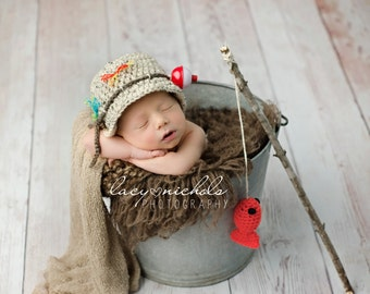 READY TO SHIP Baby Fishing Fisherman Crochet Hat & Fish in Oatmeal and Taupe, Newborn, 0-3, 3-6, Photography Prop