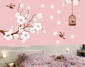 Nursery wall stickers cherry blossom decals floral decals kids wall decals baby  white girl wall art- Cherry Blossom branch