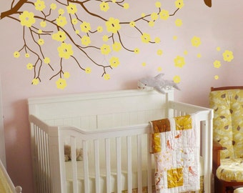 Cherry blossom wall decals  tree decals baby nursery kids flower floral nature white girl wall decor wall art- Cherry Blossom Tree