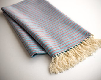 Linen Turkish Towel. Fouta, Peshtemal, Gift Bath and Beach Towel. Brown / Red & Blue / Turquoise - Blue