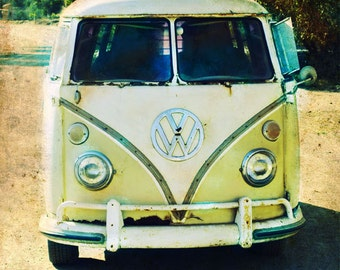 VW Bus Art, VW Bus Retro Beach Art, Surfer Art, California Art, VW Bus Print, Catalina Island