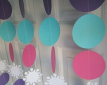 Frozen Inpsired Birthday Party Decorations, Paper Garland, Frozen Style Decorations, Winter Birthday, Frozen Party, Frozen Inspired Backdrop