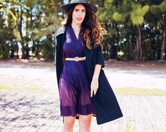 50s Blue Dress Vintage Sheer Accordion Pleat Pleated Dress