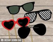 Photo Booth Props - PRINTABLE Sunglasses - Props on a Stick - INSTANT DOWNLOAD