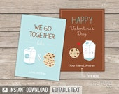 Valentine's Day Cards - Cookies and Milk theme - INSTANT DOWNLOAD - Printable PDF with Editable Text