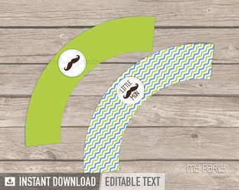 Mustache Party - Little Man Party - Cupcake Wrappers - INSTANT DOWNLOAD - Printable PDF with Editable Text