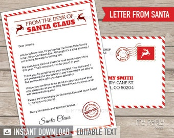 Letter from Santa kit with Envelope Template - Red Christmas - Santa Claus - INSTANT DOWNLOAD - Printable PDF with Editable Text