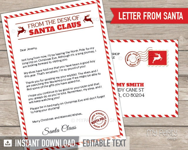 Letter from Santa kit with Envelope Template Red by mypartydesign