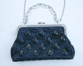black formal  HANDBAG purse quilt faux leather..w rhinestones w long chain. Nice great for a girls sweet 16 party
