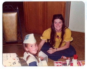 70s GAME Treat SHOP sno cone snow cone maker GIRL and big Sis play Vintage amatuer Photo